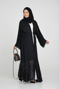Black Open Abaya with Pearls and Sheer Lace Detailing