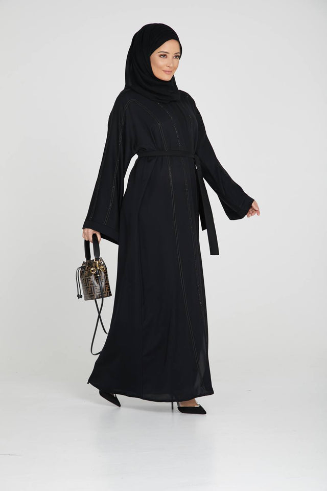 Classic Black Open Abaya with Gemstone Piping