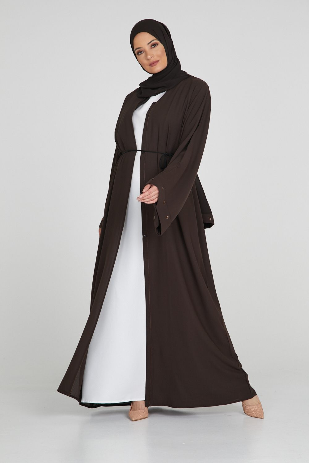 Premium Chocolate Open Abaya with Cuff Gemstone Detailing