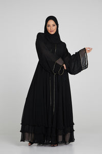 Black Umbrella Cut Open Abaya with Pearls and Gold Piping