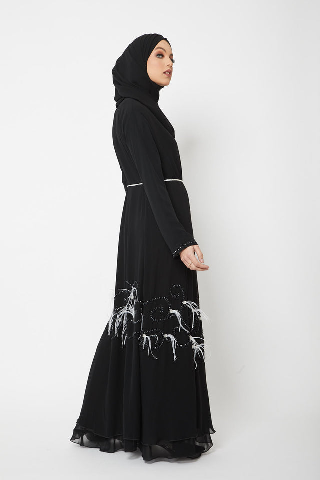 Luxury Oasis Black Open Abaya with Feather Applique