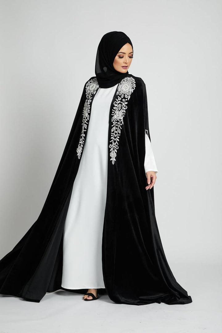 Black Velvet Silver Embellished Cape