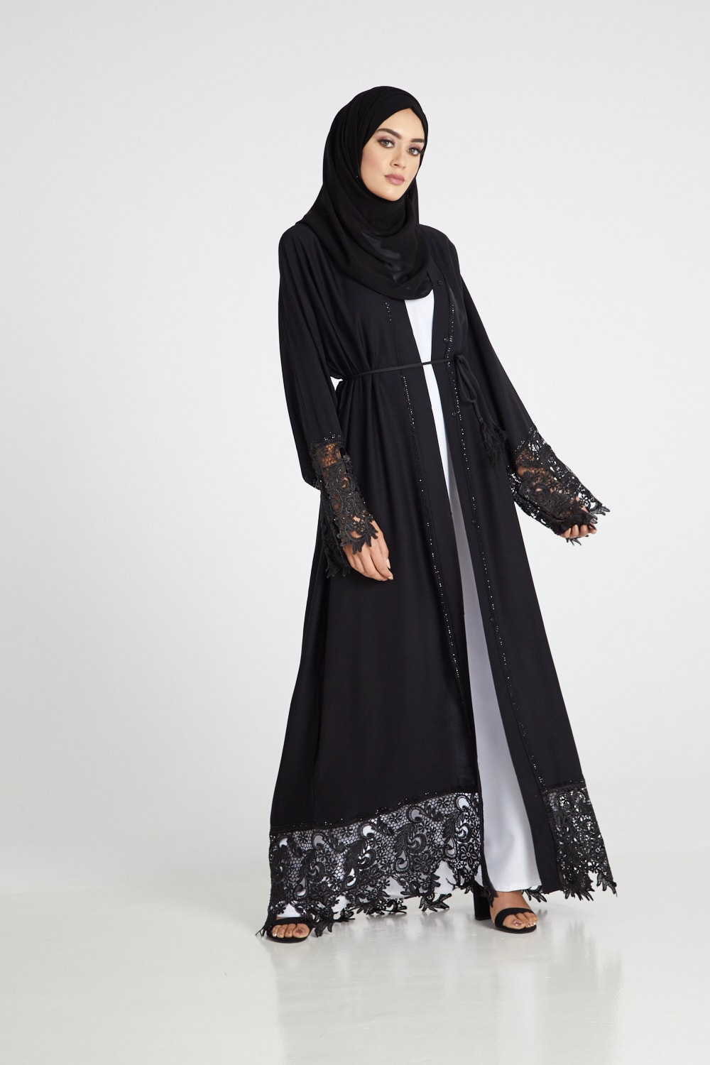 Desert Mirage Black Lace Open Abaya