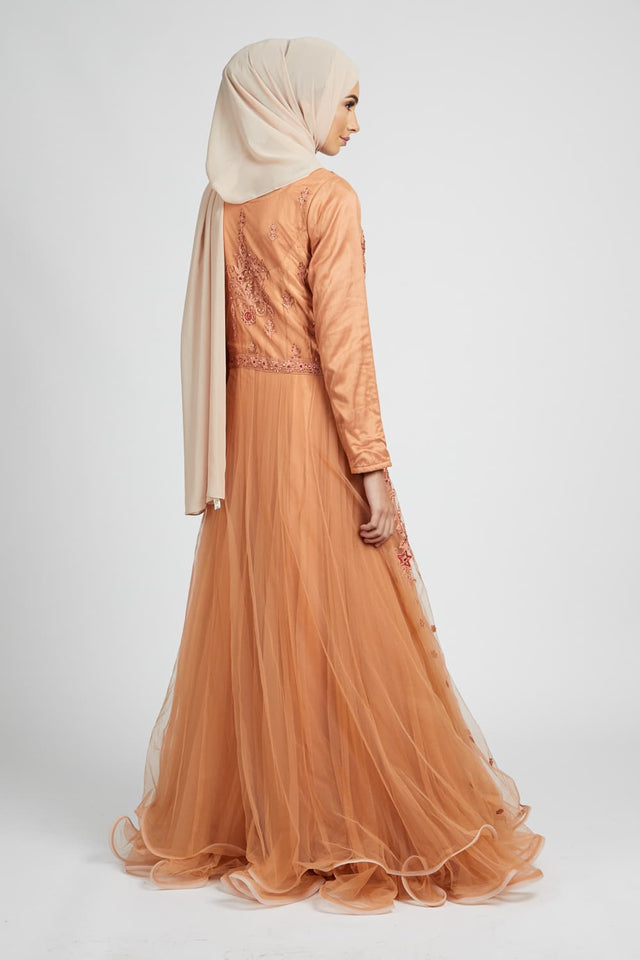 Terracotta Embellished Gown