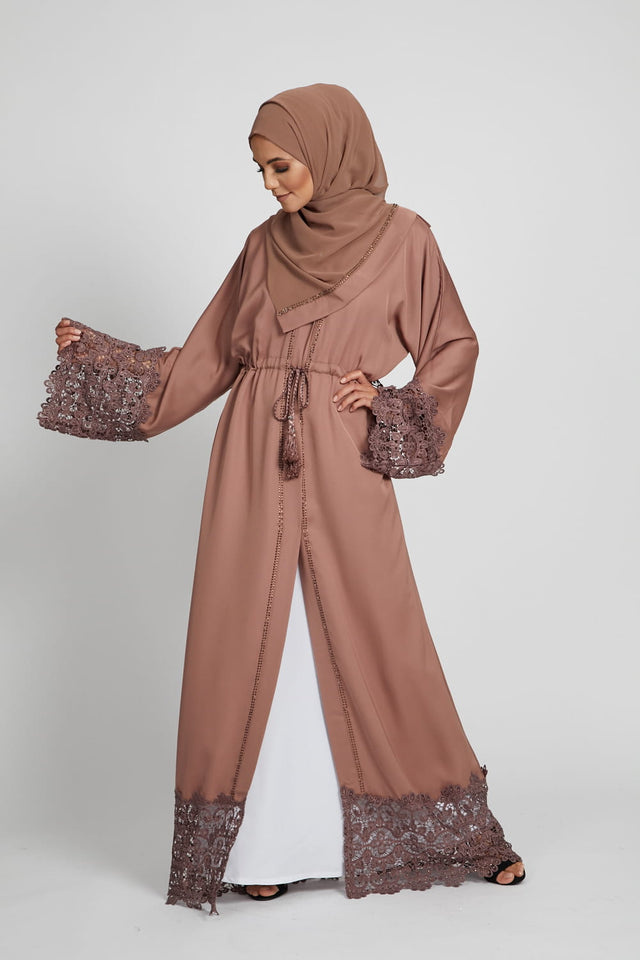 Floral Lace Dusty Taupe Open Abaya with Inner Belt