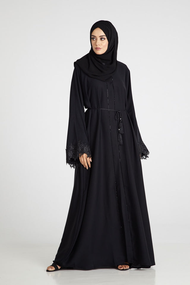Classic Black Open Abaya with Embellished Cuff
