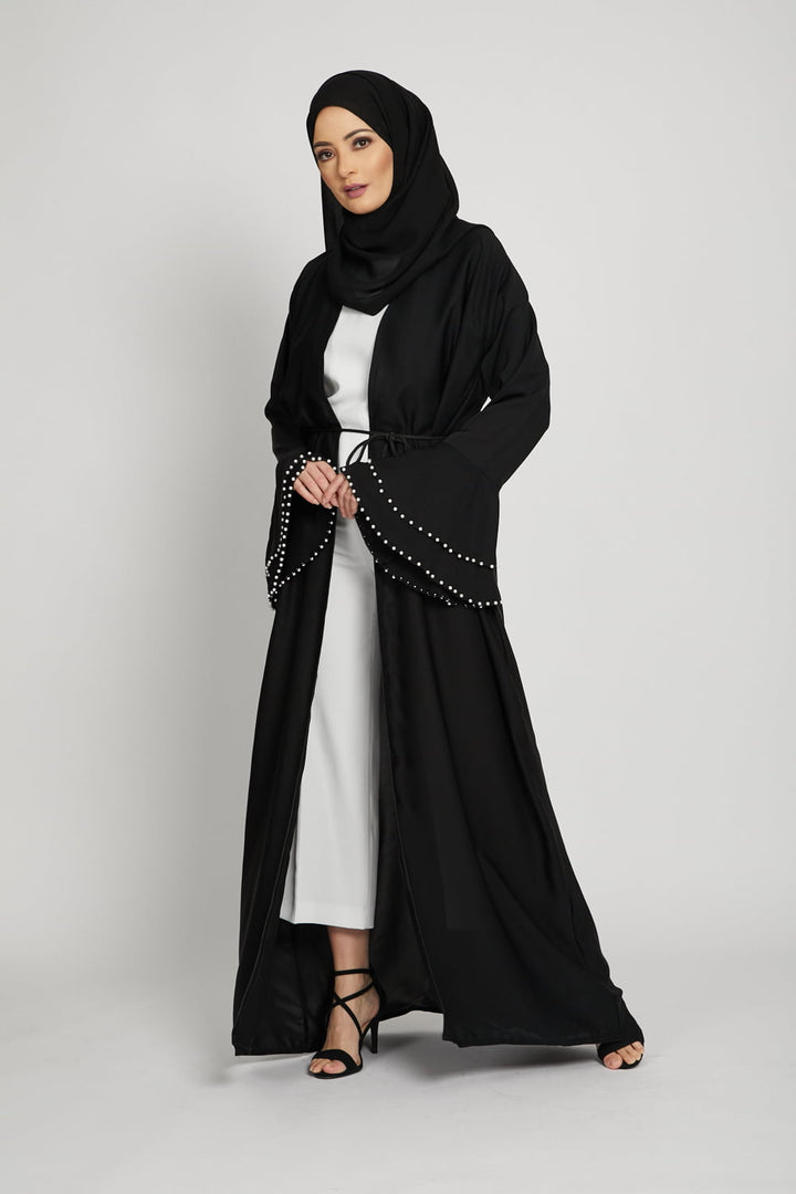 Black Bell Sleeve Kimono with Pearls