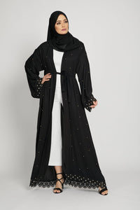 Black Open Abaya with Gold Pearls