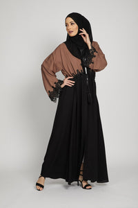 Black and Mocha Open Abaya With Inner belt