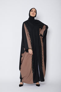 Black and Hazel Embellished Farasha