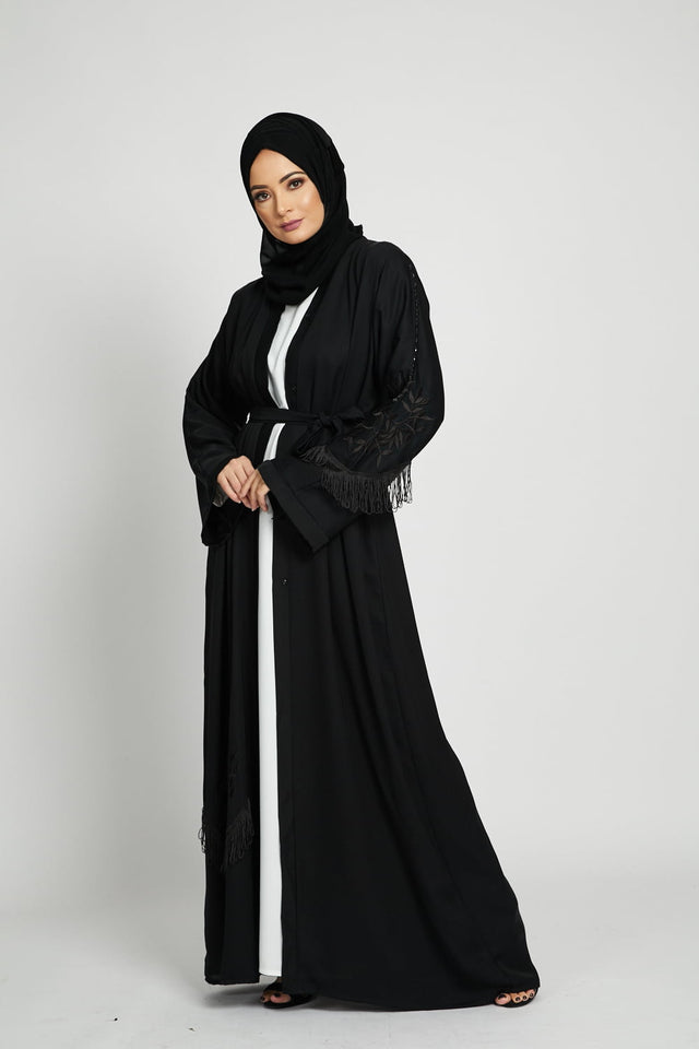 Black Embroidered Open Abaya with Tassels