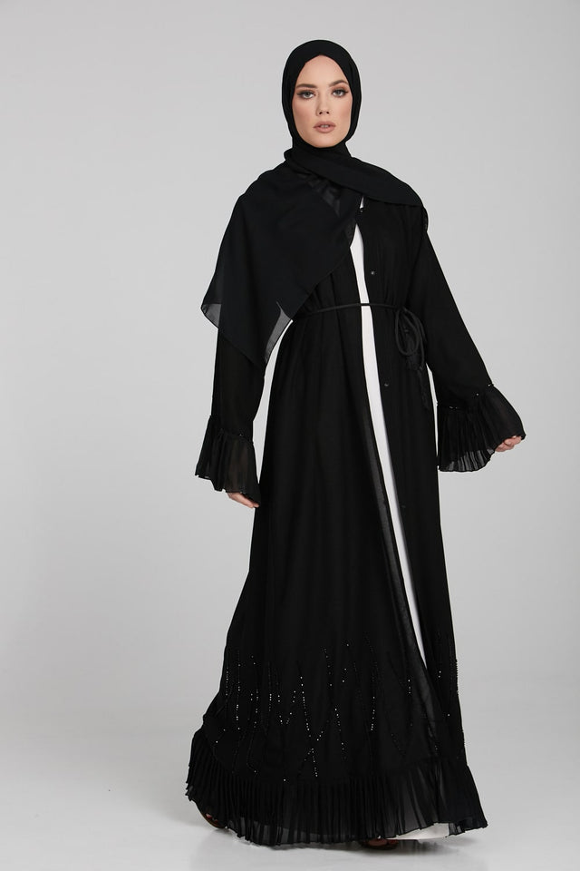 Classic Black Open Abaya with Pleated Cuff and Hem