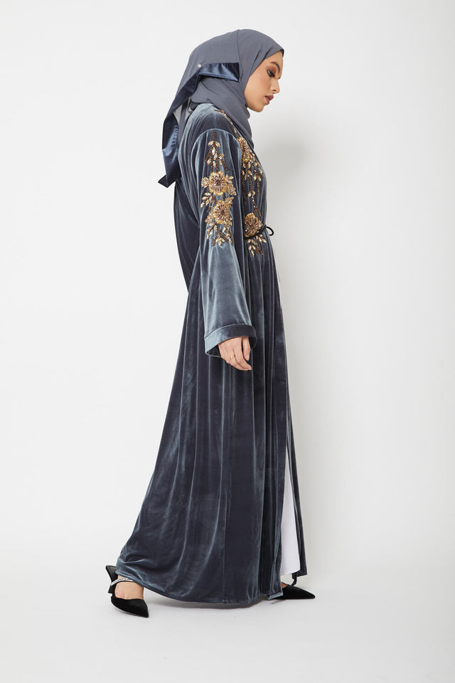 Luxury Night Sky Grey Velvet Embellished Open Abaya