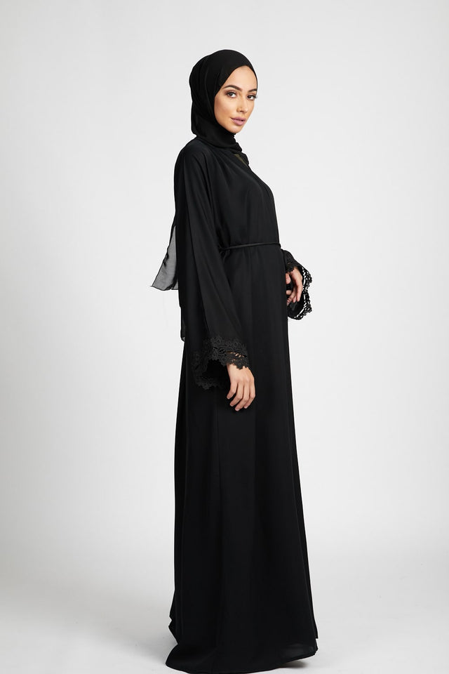 Floral Lace Cuff Open Abaya