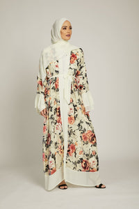 Luxury Cream Spring Blossom Open Abaya