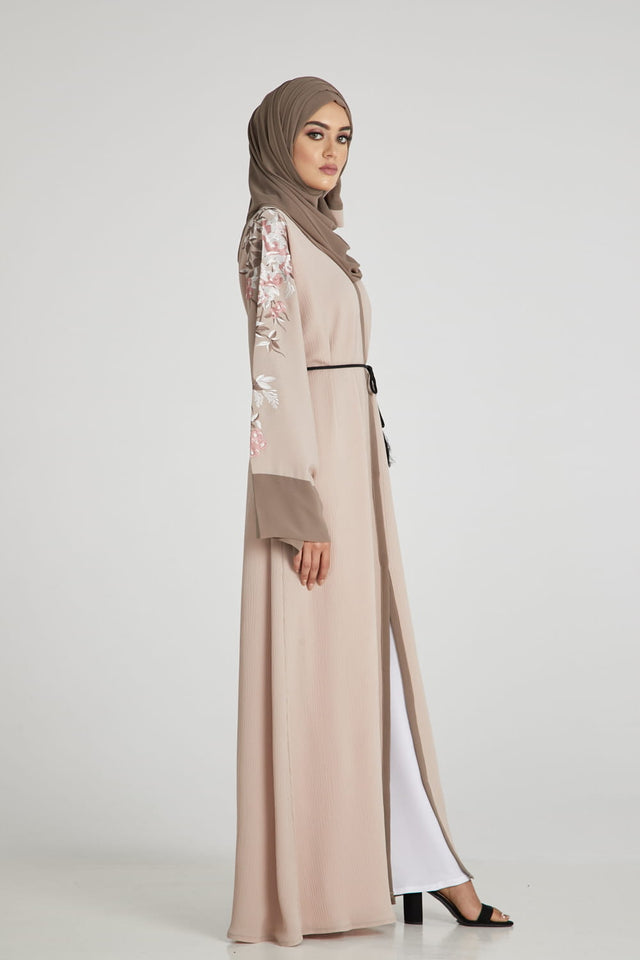 Premium Nude Floral Embroidered Open Abaya
