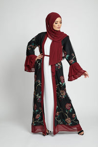 Black and Maroon Blossom Open Abaya