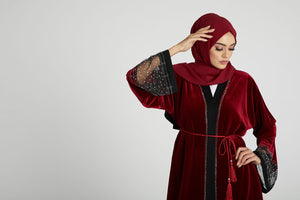 Burgundy Mist Velvet Open Abaya with Embellishments