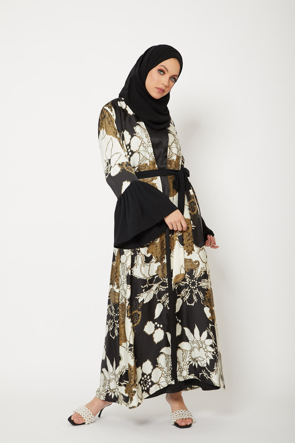 Black Floral Bell Sleeve Kimono - Limited Edition