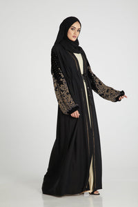 Classic Open Abaya with Primrose Bouquet Velvet Sleeves