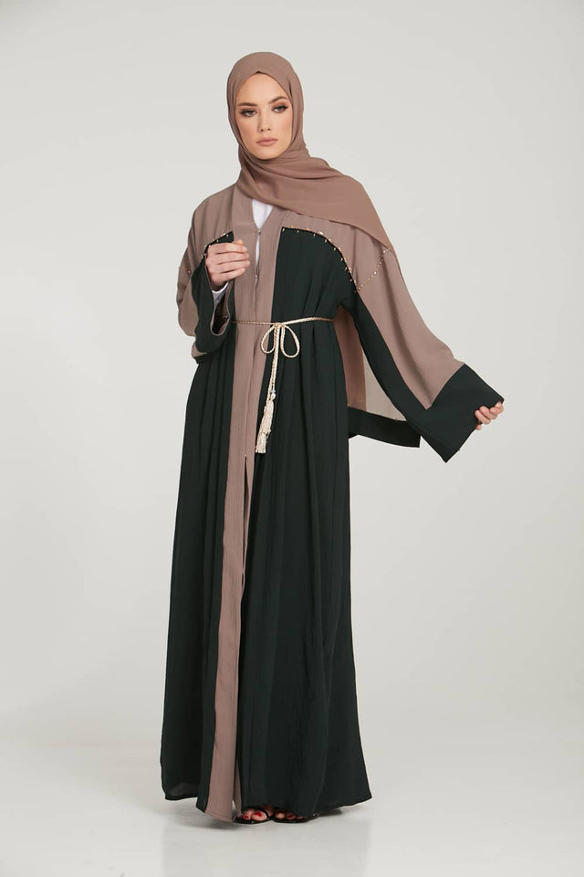 Premium Deep Emerald and Mink Open Abaya