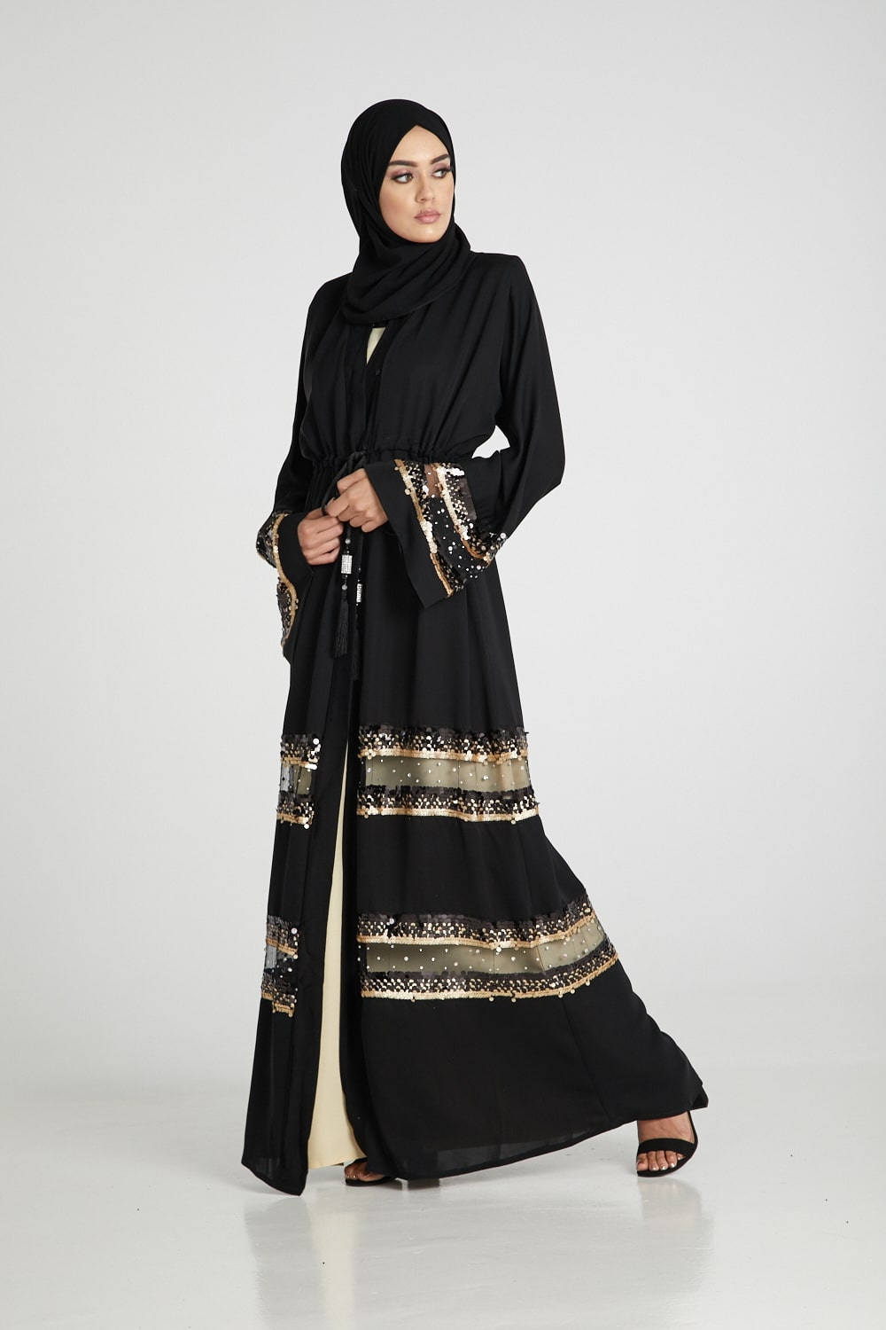 Luxury Sequinned Black Open Abaya