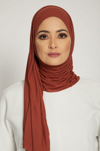 Premium Jersey Hijab - Burnt Orange