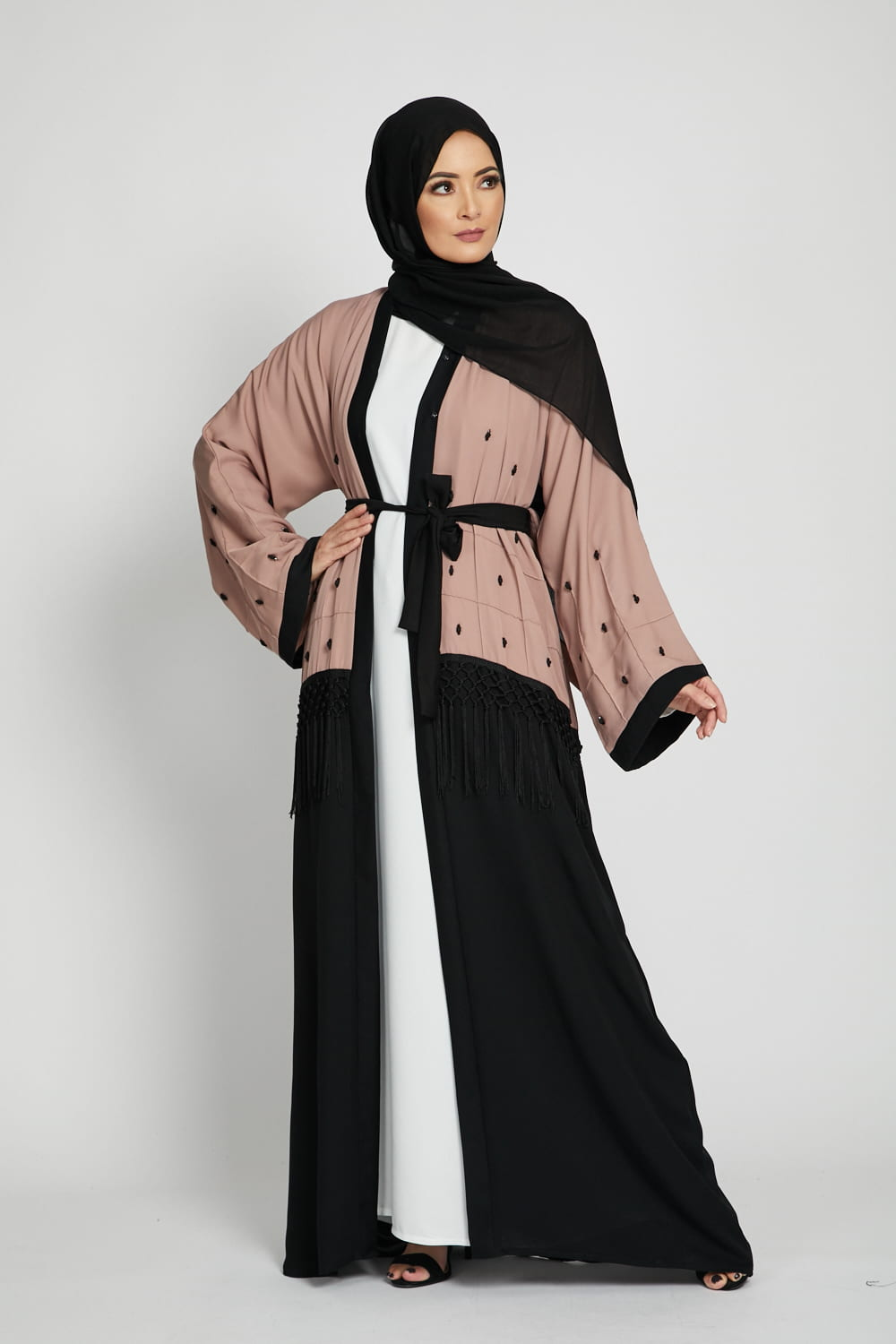 Misty Blush Open Abaya with Gems and Tassels