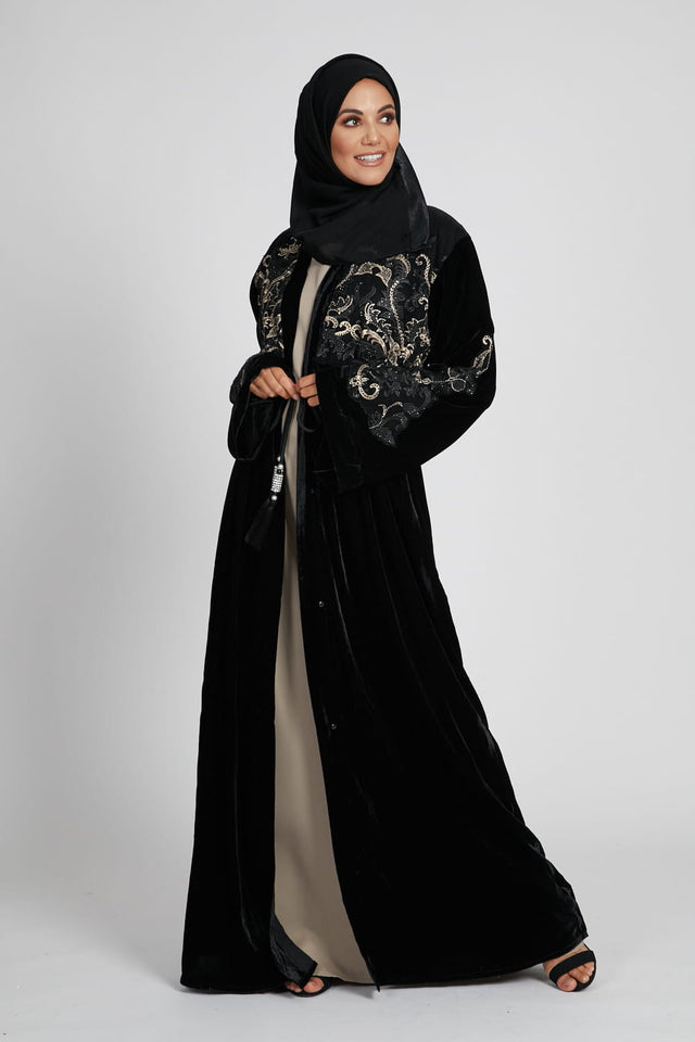 Black and Gold Velvet Open Abaya with Embellished Lace