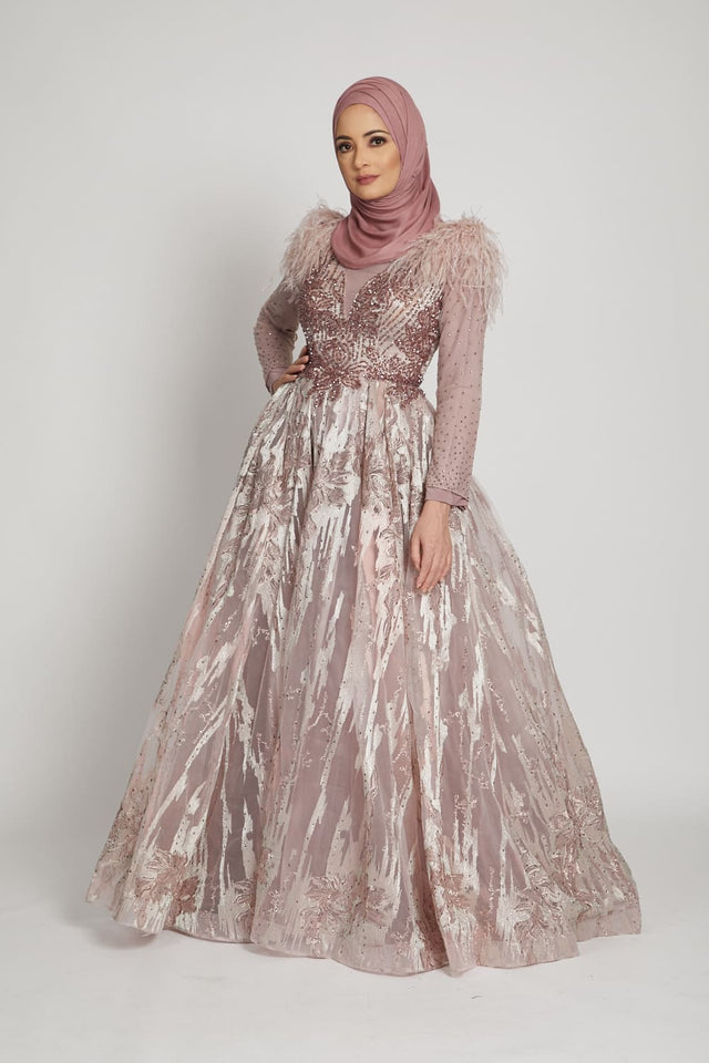 Luxury Feather Rose Embellished Gown