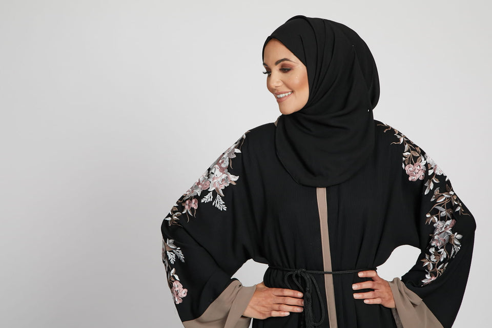 Premium Black and Taupe Floral Embroidered Open Abaya