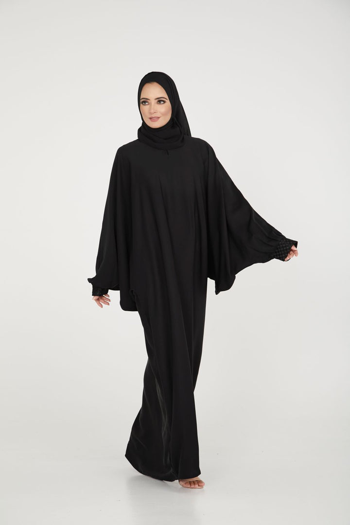 Black Batwing Abaya with Cuff Detailing