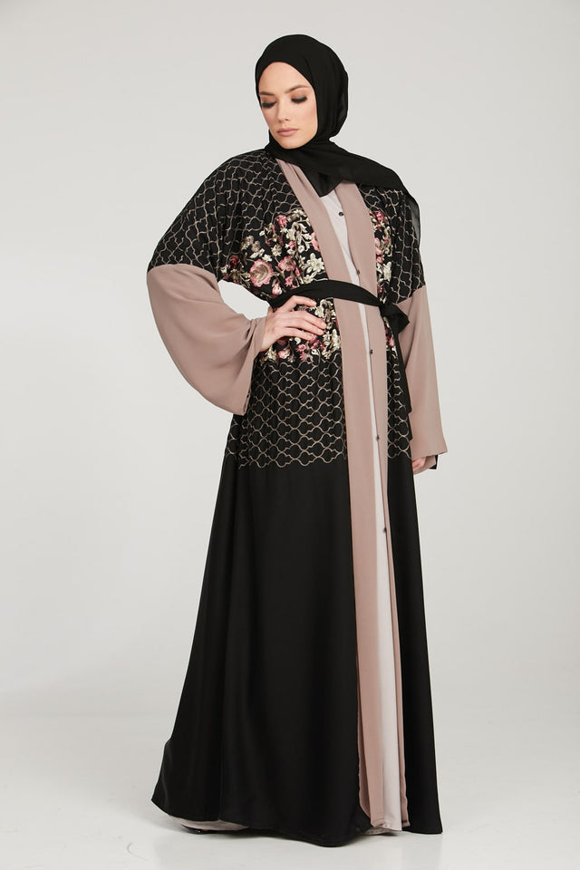 Royal Black Embroidered Kimono