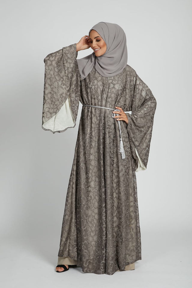 Luxury Sunset Mink Embellished Open Abaya