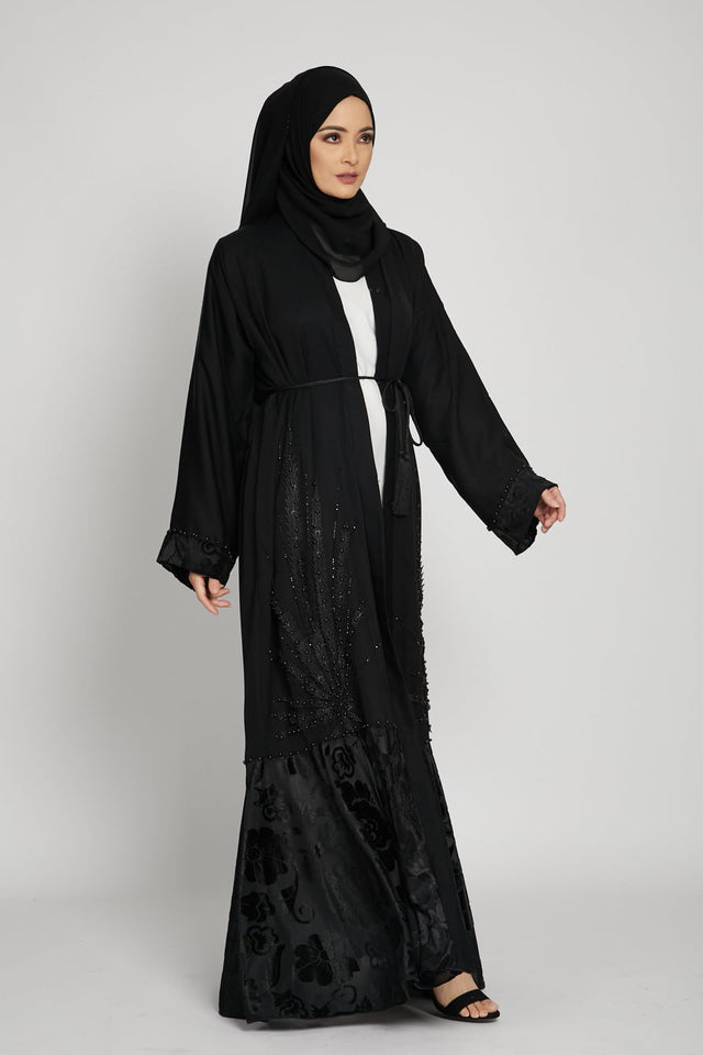 Black Umbrella Cut Open Abaya with Sheer Lace