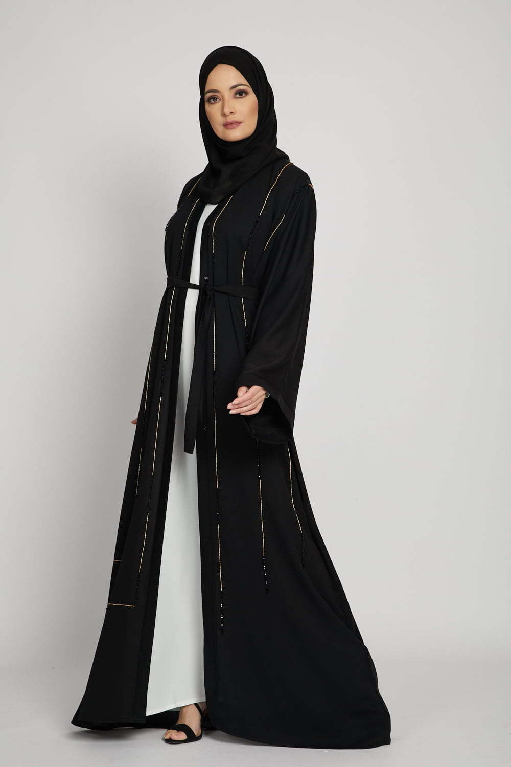 Black Open Abaya with Gold Gemstone Piping