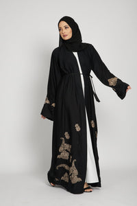 Classic Black Open Abaya with Damask Floral Embroidery