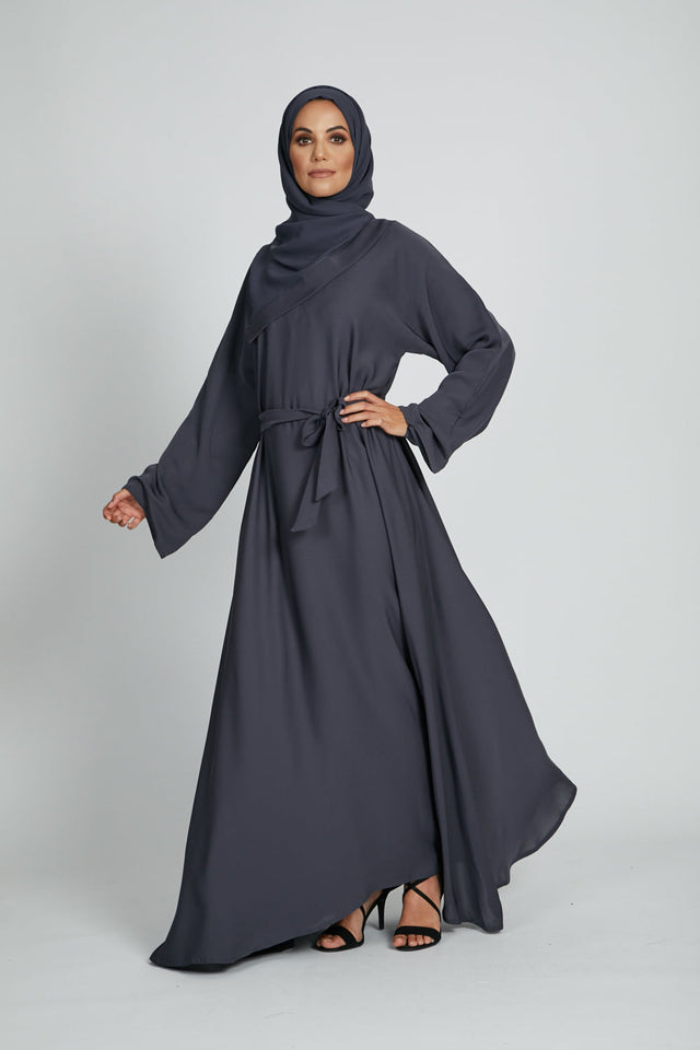 Dark Grey Umbrella Cut Closed Abaya