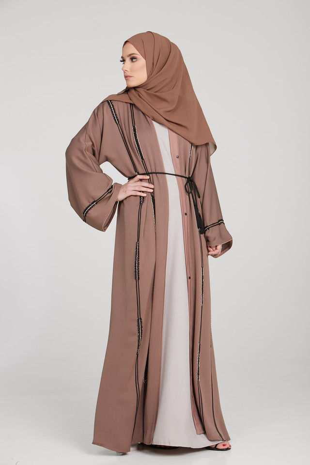 Starry Night Open Abaya - Toffee