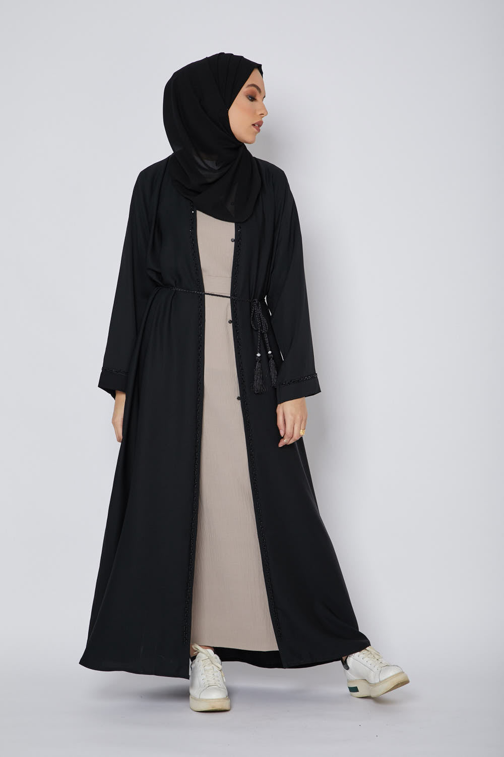 Classic Black Open Abaya with Bejewelled Piping