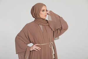 Butterscotch Layered Open Abaya