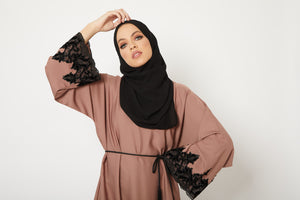 Desert Taupe Abaya with Velvet Floral Cuff - Limited Edition