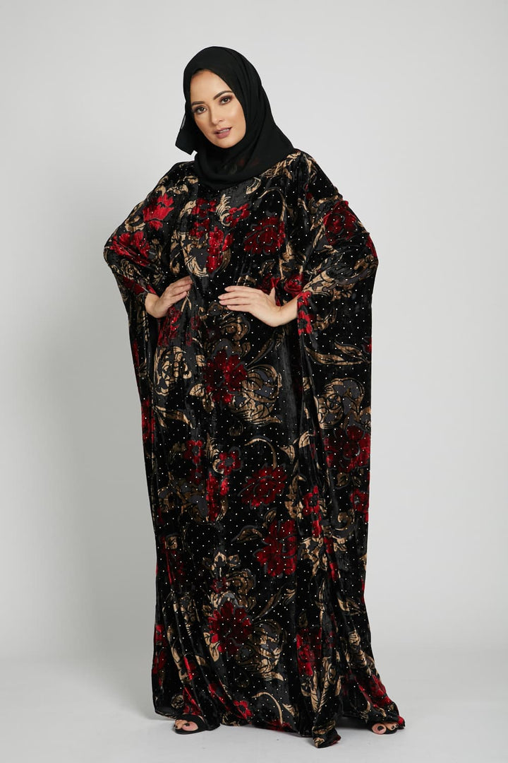 Black and Maroon Velvet Embellished Floral Cape