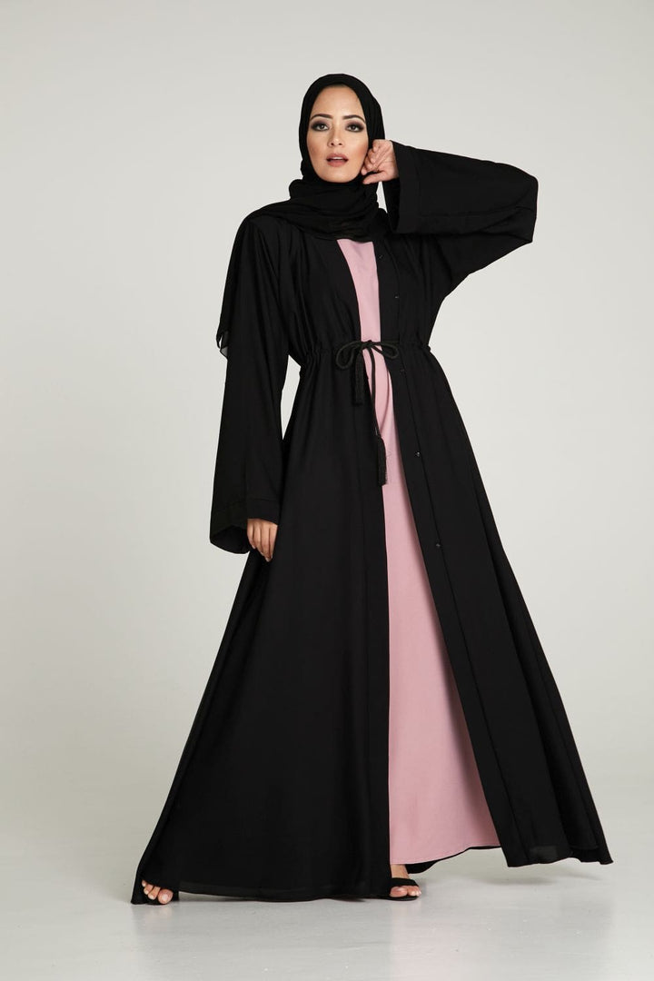 Black Corded Umbrella Cut Abaya