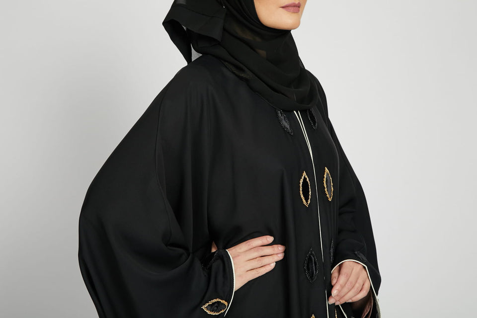 Black Batwing Abaya with Velvet Leaf Detail