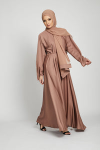 Dusty Taupe Umbrella Cut Closed Abaya