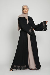 Black Open Abaya with Damask Lace And Gemstone Piping