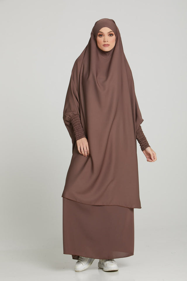 Two Piece Jilbab/Prayer Set - Hazelnut