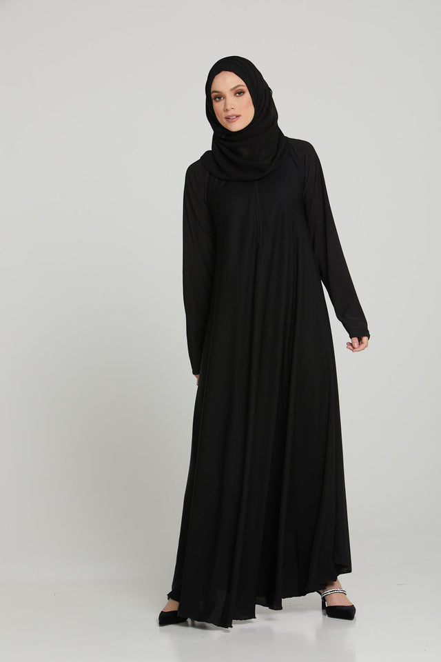 Black Umbrella Cut Abaya with Front Zip