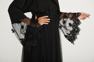 Black Embellished Abaya with Lace and Pearls